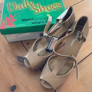 Brand new gray/brown high heels from Daily Shoes